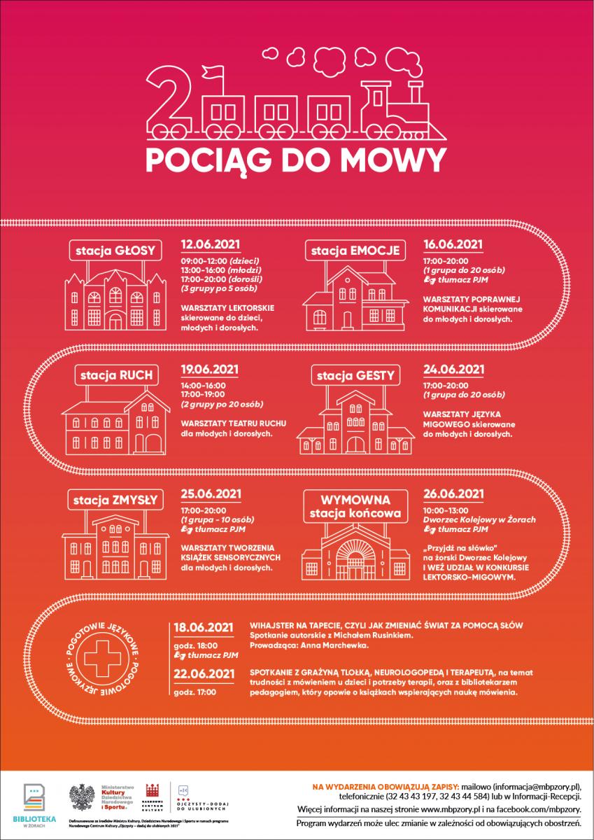 """Plakat z wizerunkiem pociągu i harmonogramem projektu """"Pociąg do mowy - edycja 2"""""""