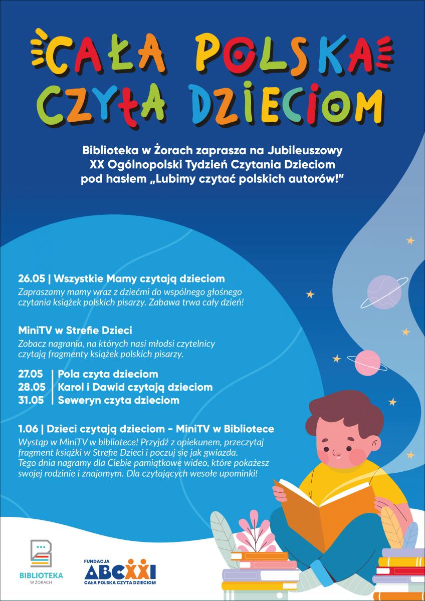 Plakat akcji Cała Polska Czyta dzieciom z harmonogramem wydarzeń.