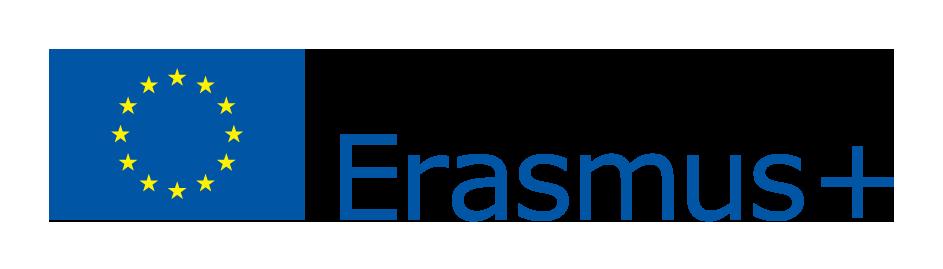 """Logo z wizerunkiem flagi Unii Europejskiej i napisem """"Erasmus+""""."""