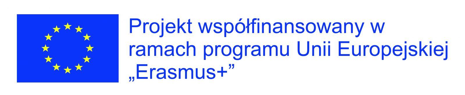 """Logo z flagą Unii Europejskiej i napisem """"Projekt współfinansowany w ramach programu Unii Europejskiej """"Erasmus+""""."""