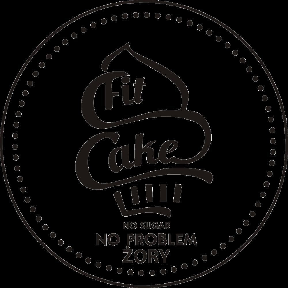 """Logo z wizerunkiem słodkiej babeczki, w logo wpisany napis """"FitCake""""."""