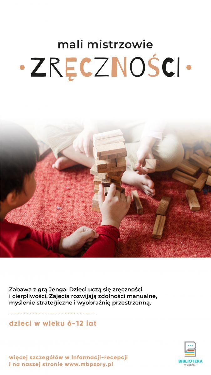 Plakat z dziećmi grającymi w jengę.