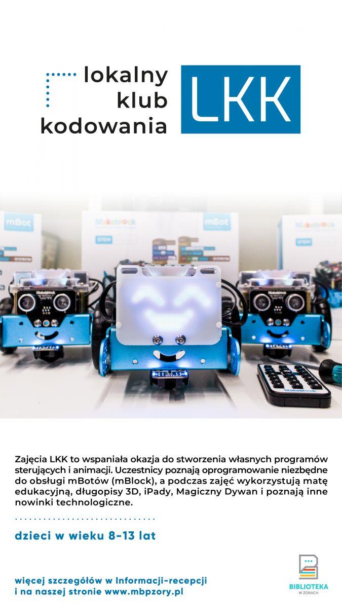 Plakat promujący zajęcia kodowania. Na zdjęciu ridoczne roboty.