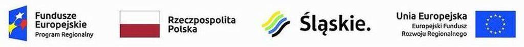 Logotypy: 1. Romb z 3 gwiazdami i napisem Fundusze Europejsie Program Regionalny 2. Flaga Polski napis Rzeczpospolita Polska  3. Logo z motywem fal i napisem Śląskie. 4. Napis: Unia Europejska Europejski Fundusz Rozwoju Regionalnego i flaga z okręgem z gwiazd