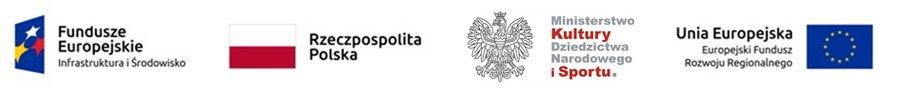 Zestaw logotypów, składający się ze znaków: Funduszy Europejskich, Rzeczpospolitej Polskiej, Ministerstwa Kultury i Dziedzictwa Narodowego oraz Unii Europejskiej.