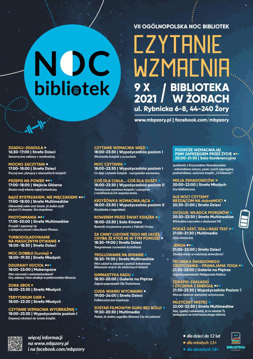Plakat wydarzenia Noc Bibliotek 2021.