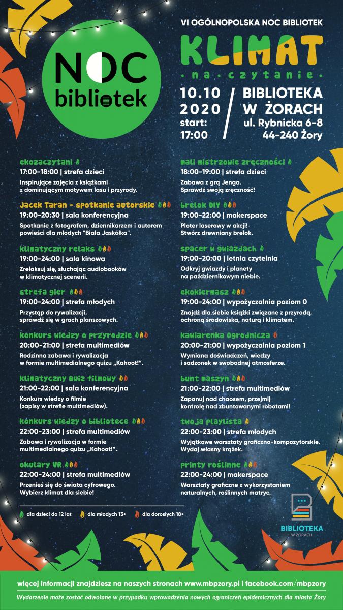 Plakat z nocnym niebem w tle, złotymi, zielonymi i brązowymi liścmi, lampkami. Plakat promuje VI Ogólnopolską Noc Bibliotek..