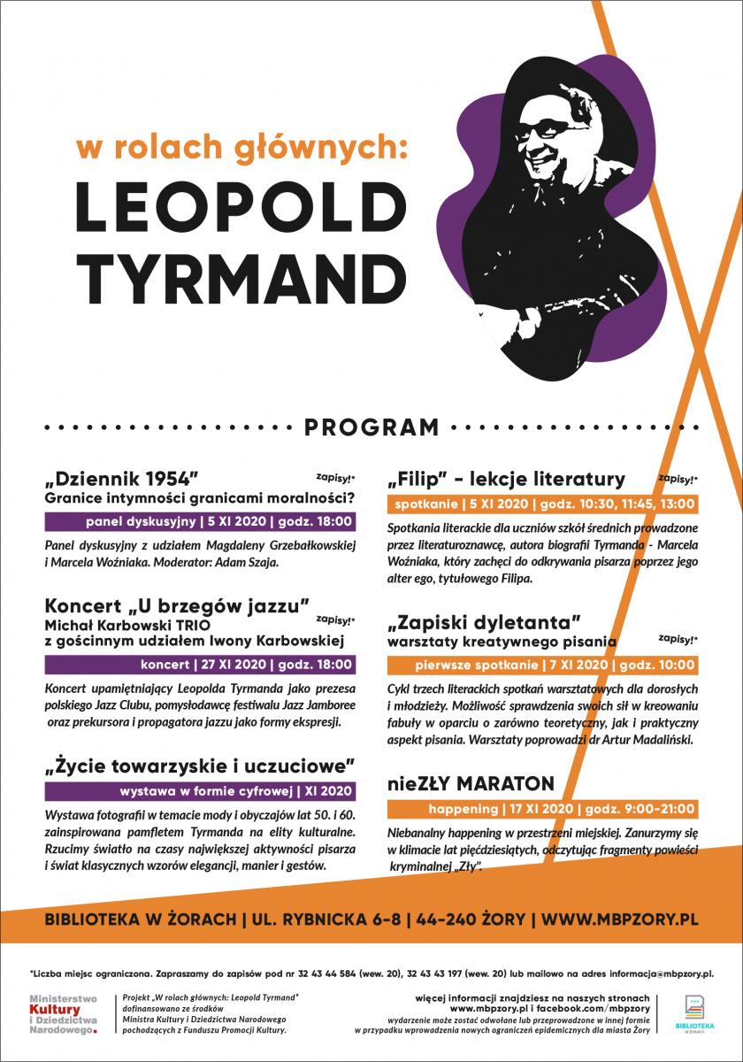 Plakat na białym tle z sylwetką Leopolda Tyrmanda.