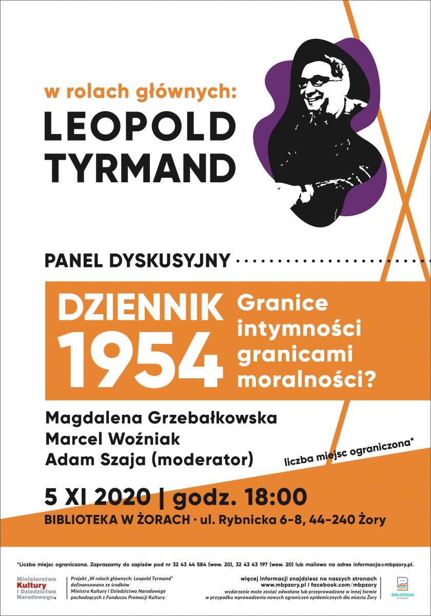 Plakat z reklamą panelu dyskusyjnego urtrzymany w kolorach biel, pomarańcz, fiolet i czerń.