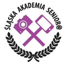 Logo: skrzyżowany aparat i smarfon, napis Śląska Akademia Senior@