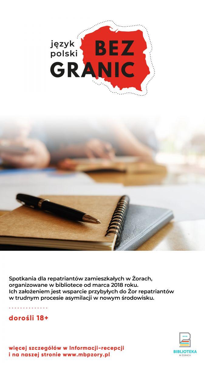 Plakat promujący zajęcia z konturem Polski i notatnikiem.