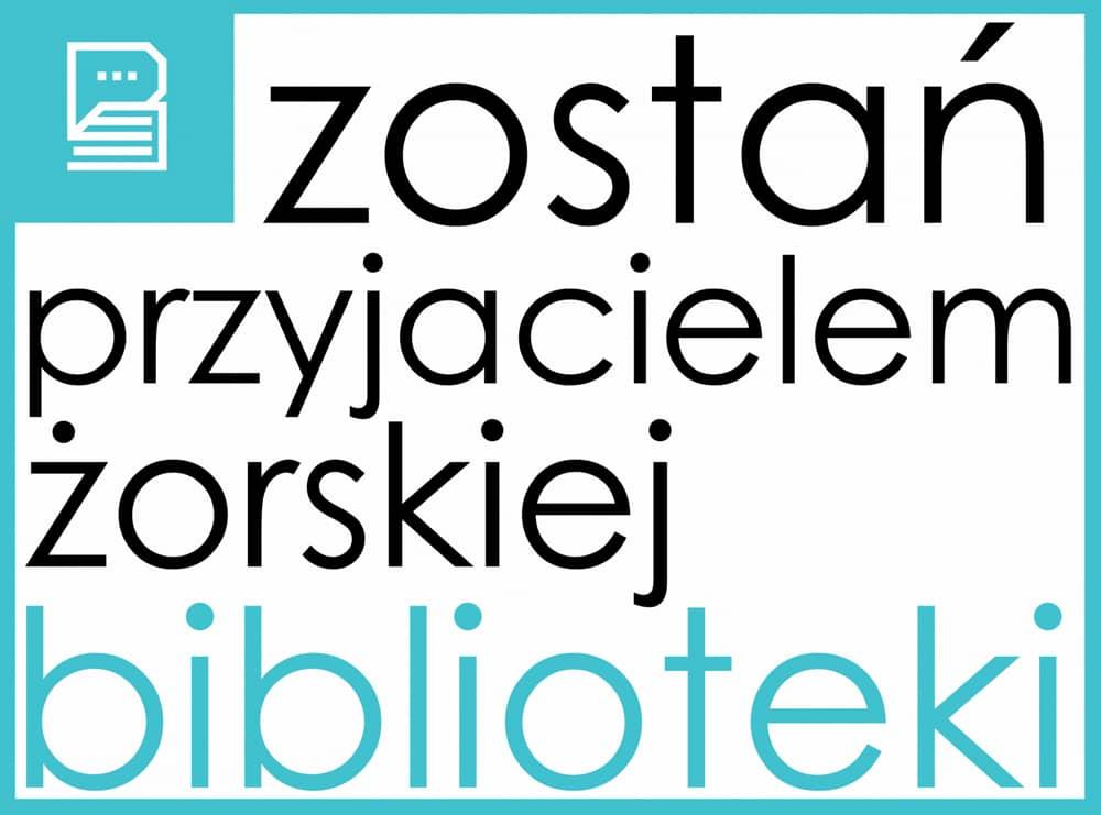 Przycisk Zostań przyjacielem żorskiej biblioteki