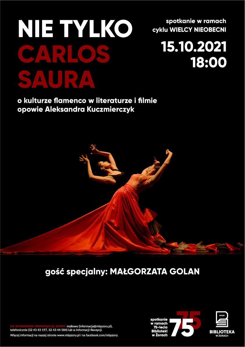 Plakat z wizerunkiem kobiety w hiszpańskiej sukni w pozie tanecznej. Ma uniesioną dłoń ponad głową, w drugiej trzyma wachlarz.