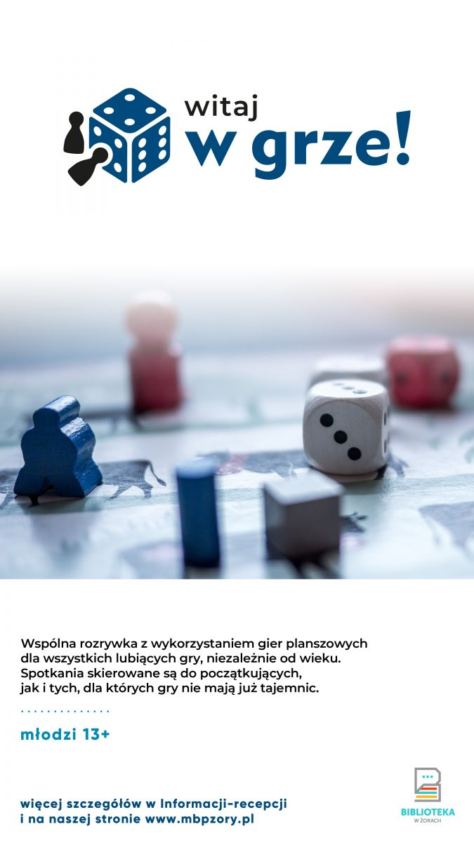 Plakat promujący zajęcia z grami planszowymi.