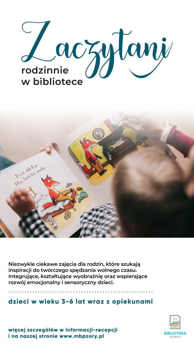 Plakat promujący zajęcia z książką.