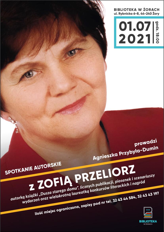 Plakat z wizerunkiem kobiety w średnim wieku.