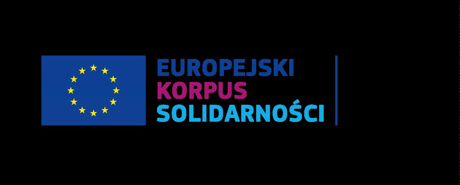 """Logo: flaga Uni Europejskiej - gwiazdy ułożone w okręgu i napis """"Europejski Korpus Solidarności""""."""